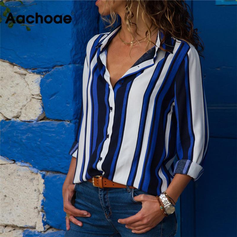 aliexpress - Aachoae Chiffon Blouse Women Long Sleeve Striped Shirt Turn Down Collar Office Shirt Casual Tops Blusas Femininas Plus Size