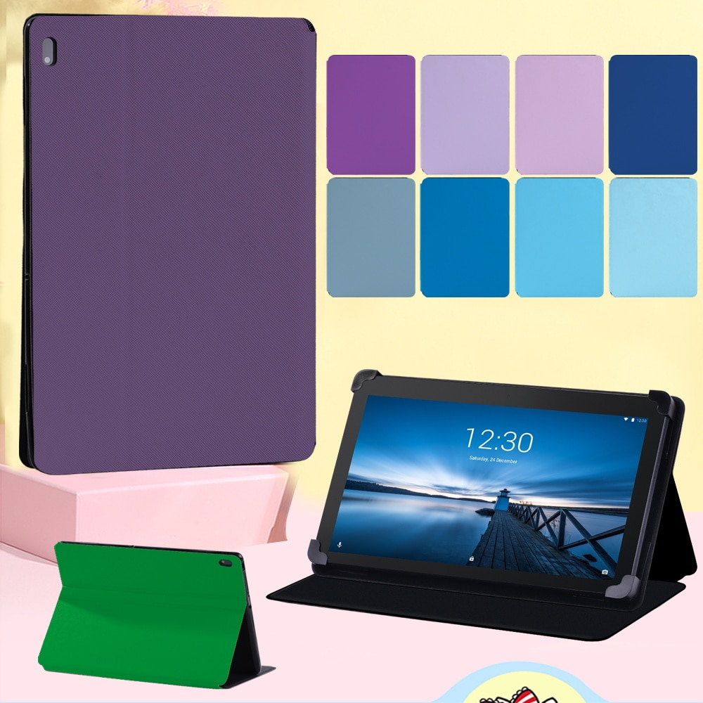 Flip Tablet Case for Lenovo Tab M10 10.1 Inch/Tab E10 10.1 Inch High Quality Anti-fall Solid Color Leather Cover Case + Stylus
