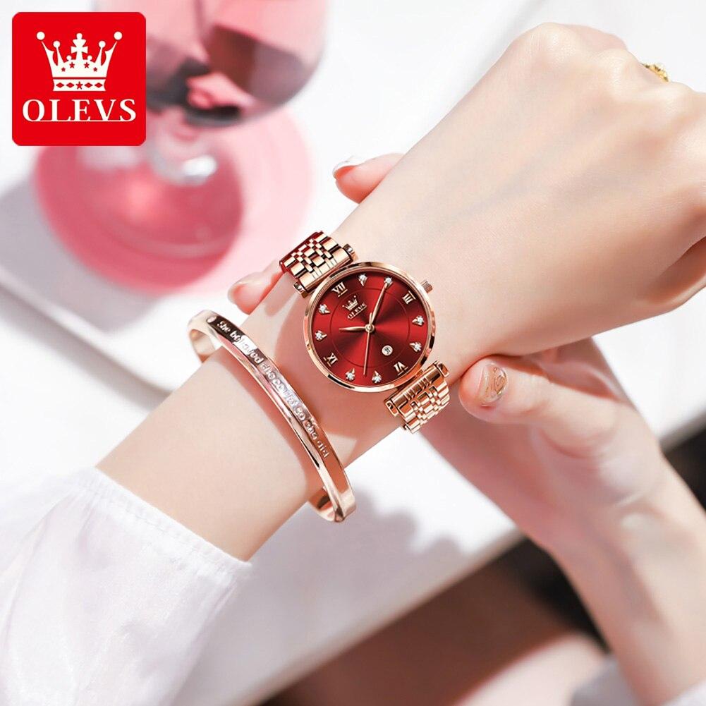 OLEVS موضة كوارتز ساعات نسائية فاخرة الماس حجر الراين جلدية السيدات ساعة عادية الأعمال الإناث ساعة Relogio Feminino