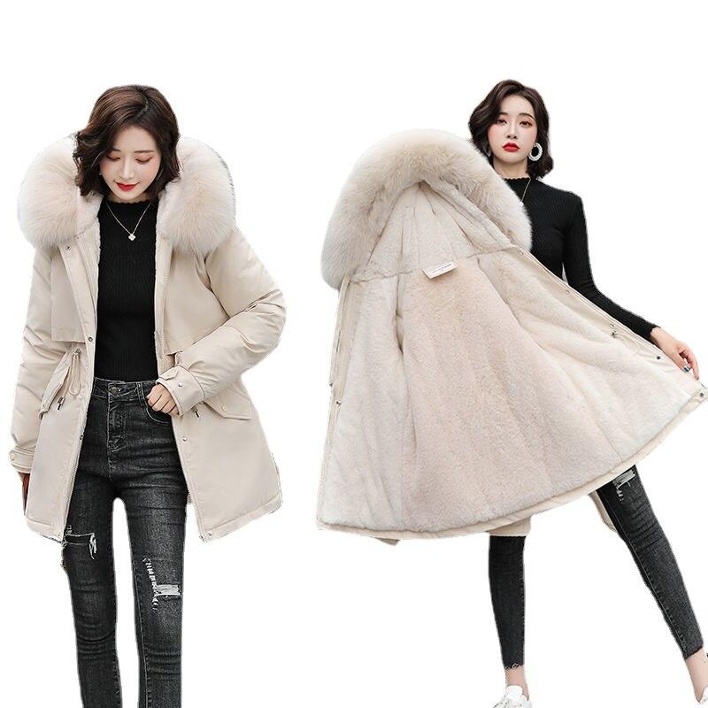 معطف الشتاء النساء 2021 زائد Velet سترات الصلبة سترات عادية الكورية ملابس عصرية عالية الشارع مقنعين فضفاض المعاطف الدافئة QQ-196