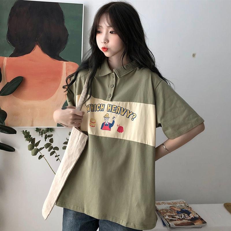 T-shirt Women Turn-down Collar Cartoon Print Casual T Shirt New 2020 Fashion Korean Preppy Style Loose Tee Shirt Femme P402