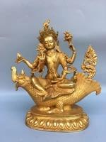 10chinese temple collection old bronze gilt tara riding dragon fish statue guanyin bodhisattva sitting buddha
