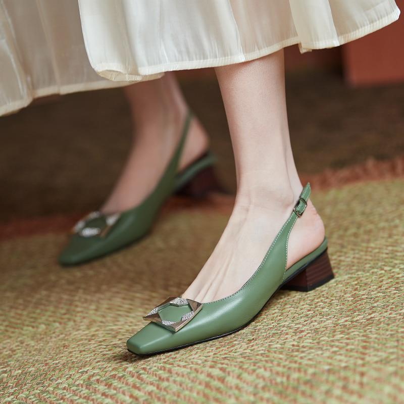 Metal Decoration Back Strap Women'S Sandals Genuien Leather Buckle High Heels Pumps Women Summer Party Wedding Shoes Woman