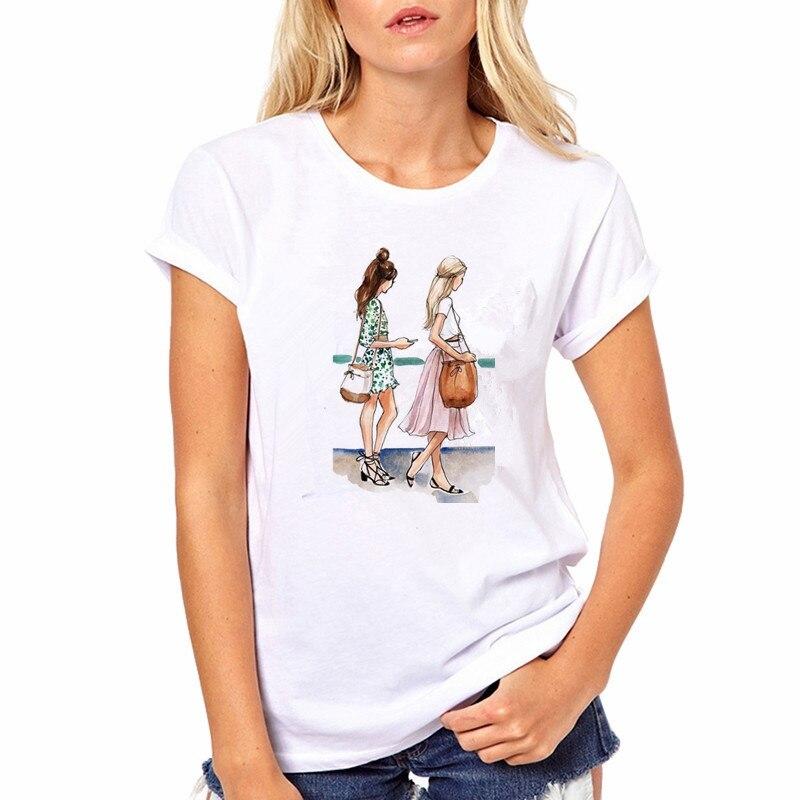 Fashion Women's Oil painting Graphic Harajuku T-shirt Real Friendship Print Sleeve Tshirts Casual Long Sleeve Female Tops 2020