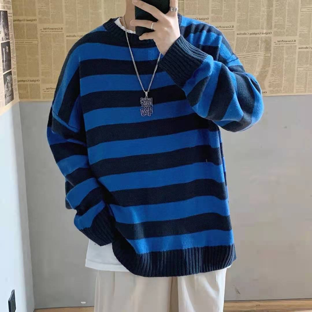 contrast striped pullover sweater 2021 Contrast Stripe Knitted Sweater Autumn Winter Men And Women's Pullover Black Red Striped Oversized Sweater Hot Sale
