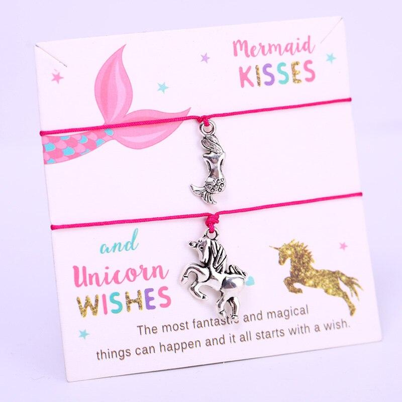 Единорог пожелания Русалка поцелуи регулируемые браслеты с подвесками для женщин девочек и мальчиков модные украшения для вечеринки, дня рождения, рождественский подарок