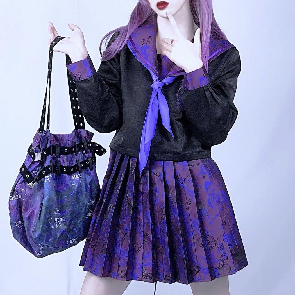 Purple Butterfly Dark Bad JK Uniform gothic Sailor Suit Japanese designer Short pleated Skirt two pieces set women sets clothes