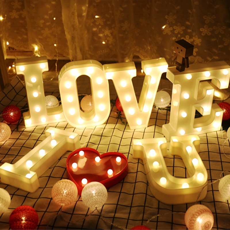 Letter LED Lights Alphabet 0-9 Digital Marquee Sign Number Lamp Decoration Light For Party Wedding Birthday Christmas
