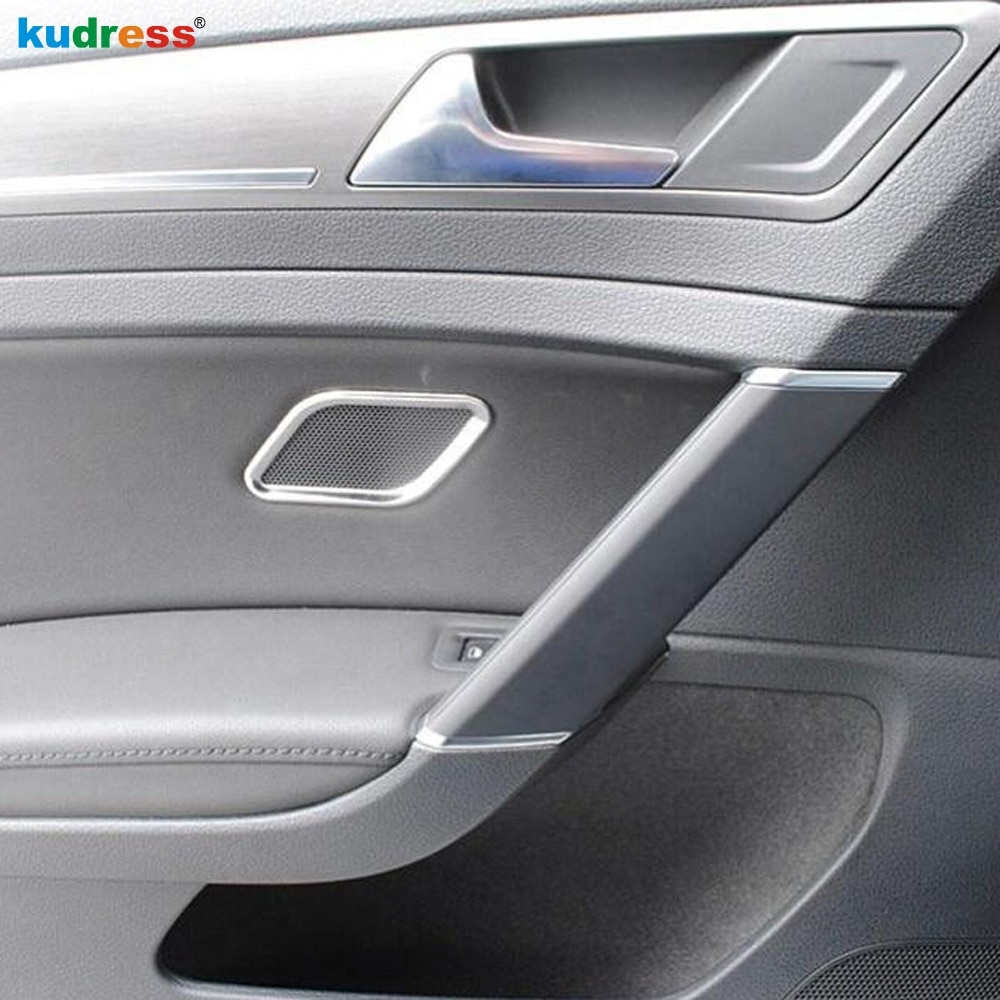 Para Volkswagen para VW Golf 7 2014, 2015 5-puerta lateral de acero inoxidable cubierta de altavoz de puerta anillo Trim pegatinas Interior Accesorios