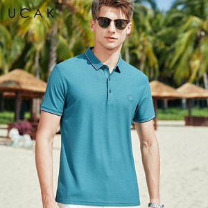 UCAK Brand Classic Turn-down Collar T-Shirt Men Clothes Summer New FashionStreetwear Casual Solid Color Cotton Tee Tops U5600