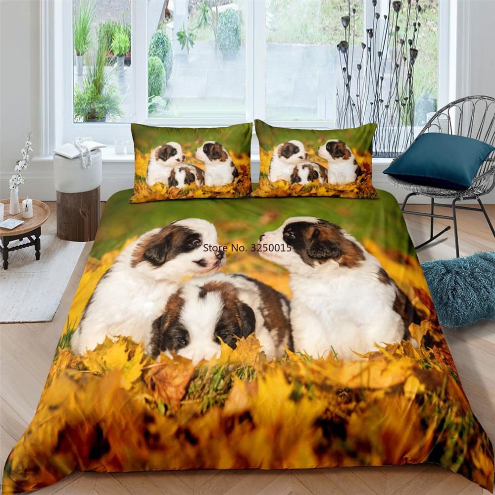 سعيد الأسرة لطيف الكلب ثلاثية الأبعاد الطباعة حاف الغطاء الملكة الملك الحجم ل المنسوجات المنزلية الفاخرة طقم سرير لحاف ناعم يغطي