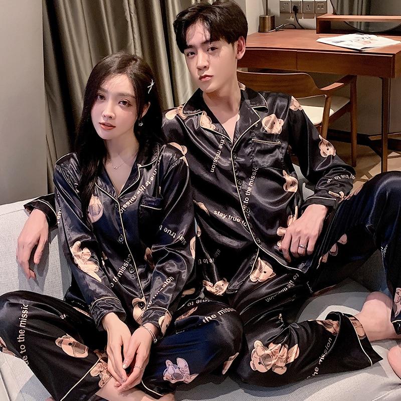 Мода одежда для сна шелк атлас пижамы пара комплект длинные пуговицы пижамы костюм пижама женщины мужчины домашняя одежда большие размеры пижамы комплект M-5XL