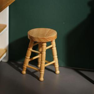 1/12 High Stool Wooden Color Living Room Mini Dollhouse Furniture Miniature High Stool Wooden Color Living Room Toy Miniature