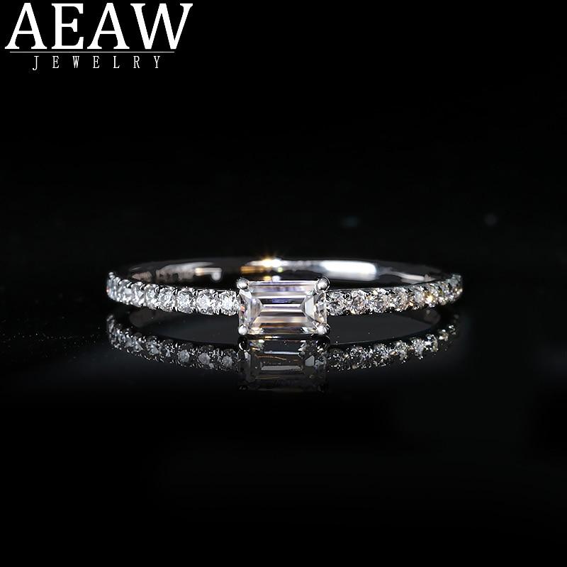 خاتم خطوبة من مويسانيتي مقصوص من الذهب الأبيض عيار 14 قيراط للنساء ، خاتم خطوبة ، لون VVS1 ، 14 قيراط ، 0.33 قيراط ، 3 × 5 مللي متر