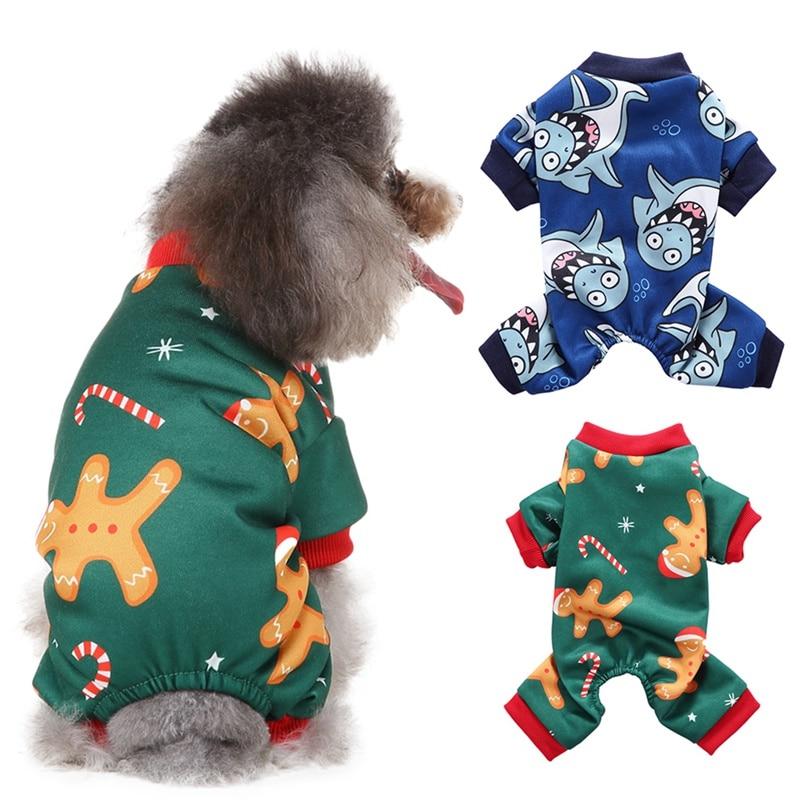 Рождественский комбинезон для животных утолщенная куртка с собачкой костюм