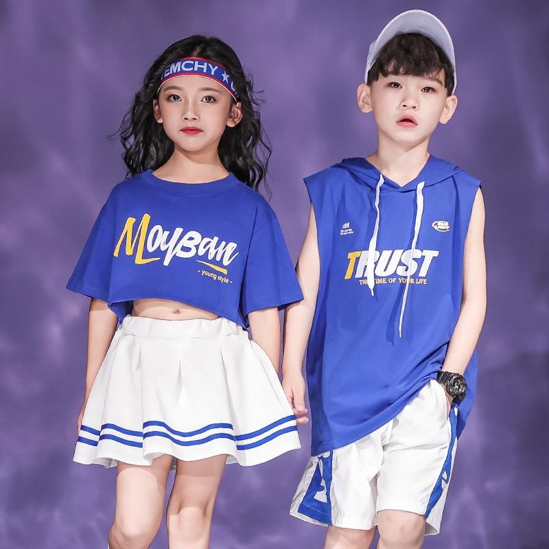 Danza de niños de moda Hiphop Rave azul actuación de street Dance ropa de niño de la práctica de usar DF1665