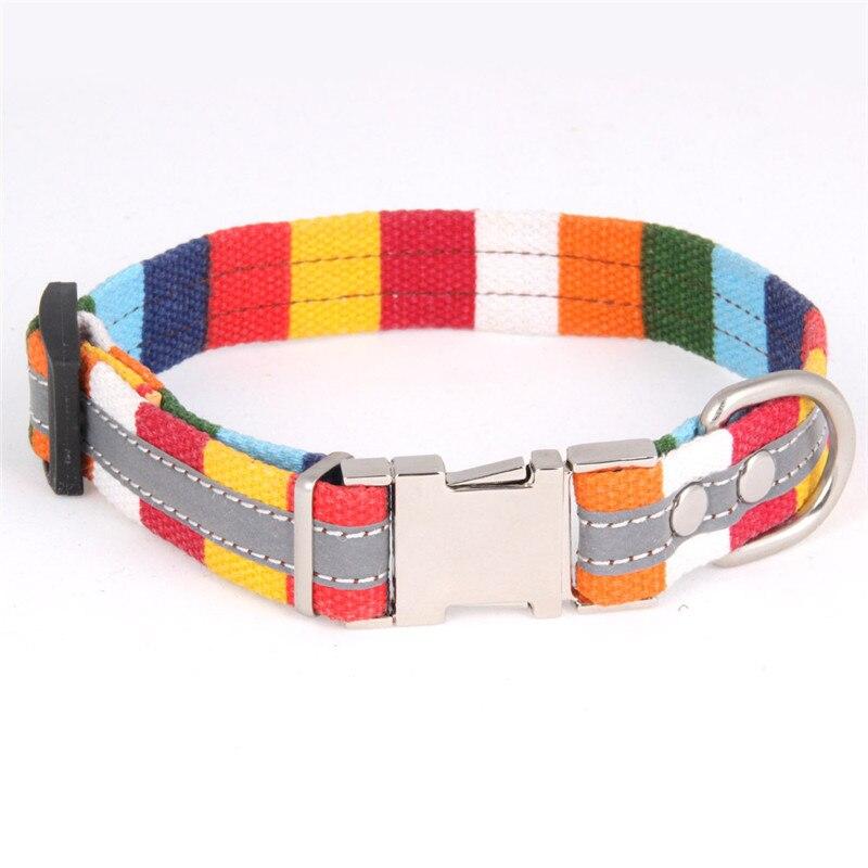 Colorful Reflective Dog Collar Canvas Adjustable Dog Necklace for Pet Martingale Collar Leash Harness Set Pet Product Stuff Pug