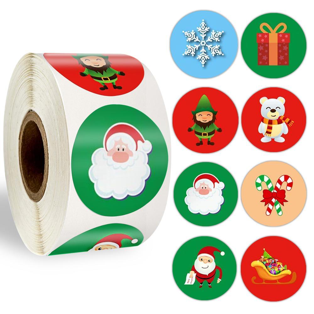 Pegatina navideña 500 Uds. Pegatina bonita Santa Claus ciervo etiqueta adhesiva decorativa recompensa etiqueta adhesiva para útiles escolares adhesivo de papelería