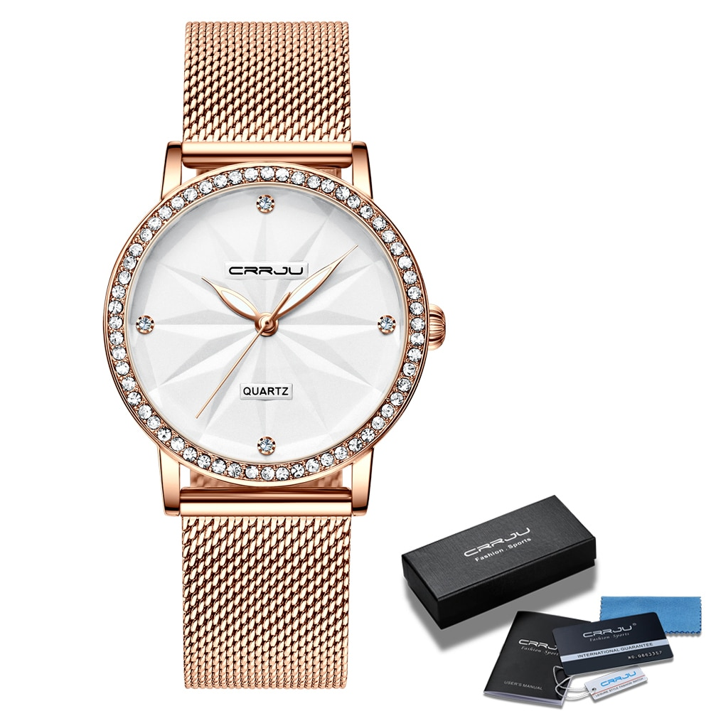 Watches for Women CRRJU Fashion Luxury Diamond Watch Ladies Dress Flower Quartz Waterproof Gift Wristwatch relogio feminino enlarge