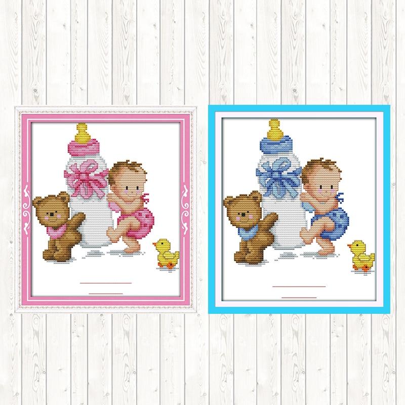 Kits de punto de cruz para Kits de bordado de patrones de bebé tamaño Mini Dmc lienzo estampado con cuentas punto de cruz manualidades DIY para niños