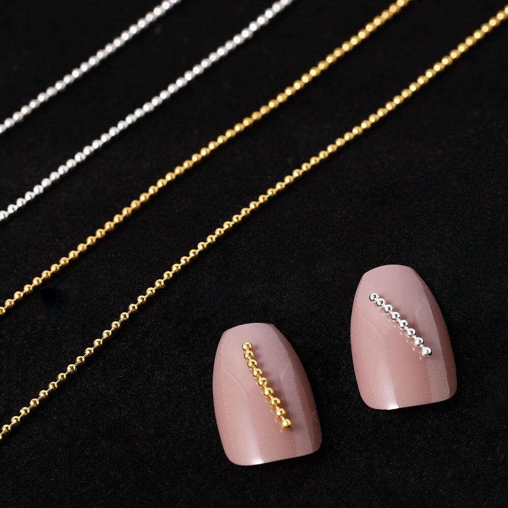 3D uñas de oro Cadena de plata de mijo de Arte de uñas decoración de uñas DIY accesorios Ongles de uñas encantos 1mm diseño de cuentas de punta de bola de Metal de 3M