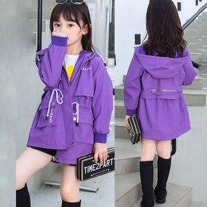 Autumn Winter Girls Baby Korean Style Spring Jackets Windbreaker Coat Teens Children Fashion Purple Pink Overcoats Kids Outwear