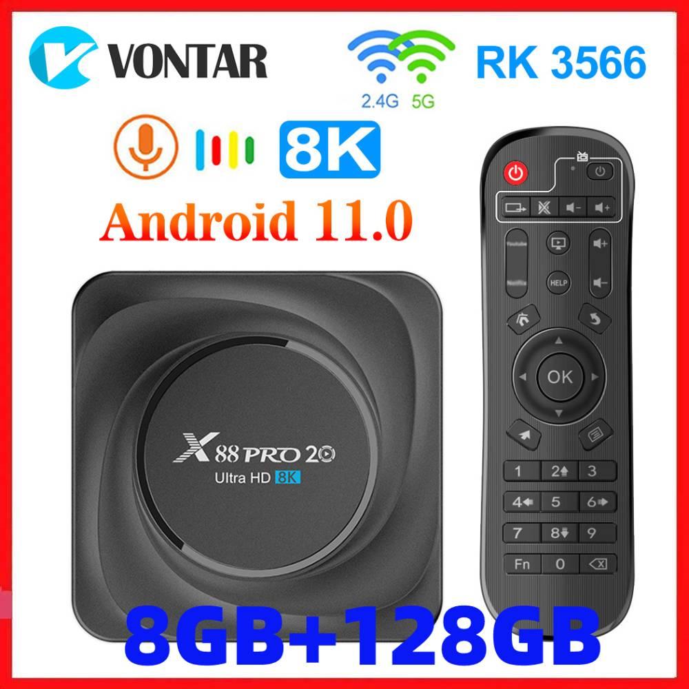 Vontar X88 PRO 20 TV Box Android 11 8GB RAM 128GB ROM Rockchip RK3566 8K Android 11.0 Media Player Google Youtube 1000M 4GB32GB