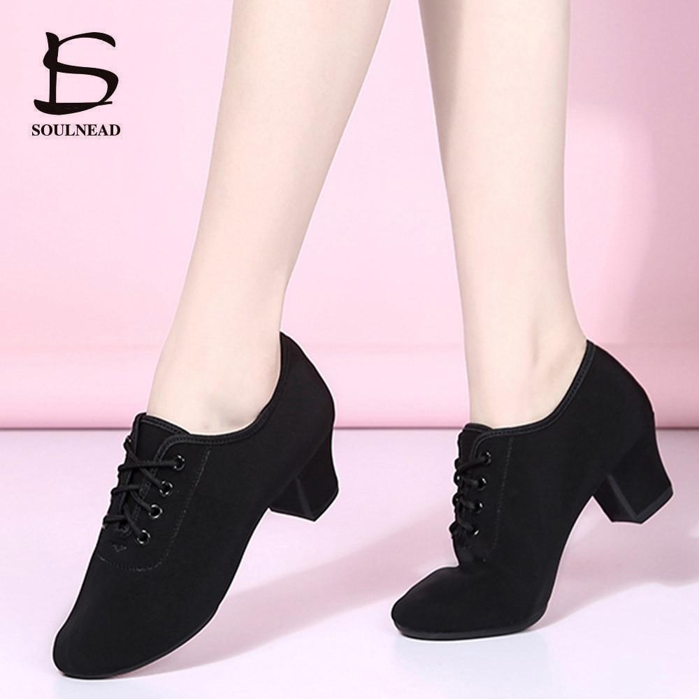Women Latin Dance Shoes Jazz Adult Ballroom Salsa Dancing Shoes Woman Black Red Teachers Training Modern Tango Dance Sneakers
