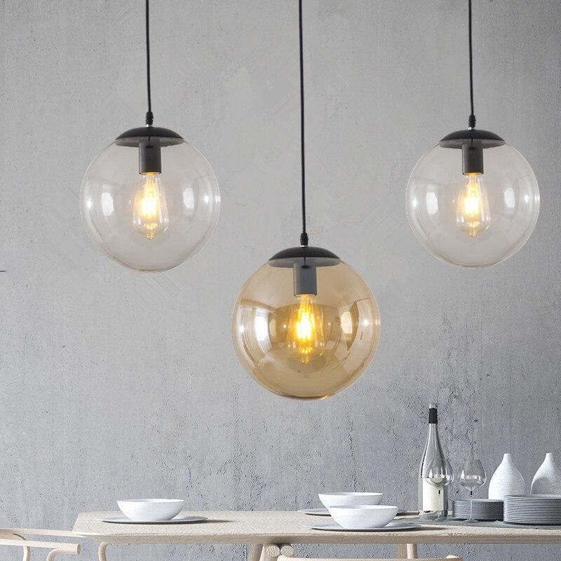 Luces colgantes de bola de cristal Retro Loft lámpara colgante Industrial Cocina Led suspensión luminaria dormitorio decoración del hogar accesorios de luz