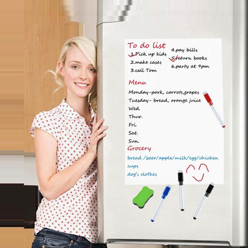 Quadro branco magnético flexível magnético para geladeira placa branca folha de registro placa mensagem memorando almofada cozinha escritório lembrar notepad