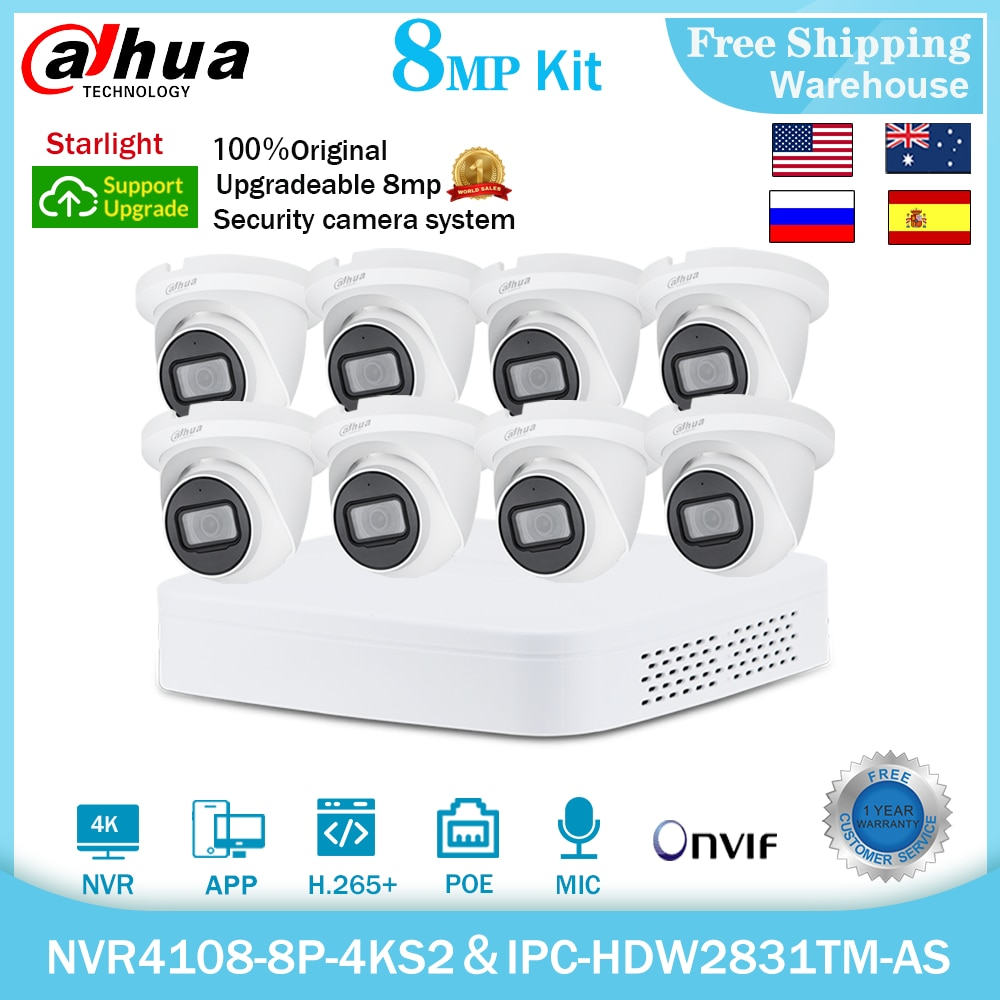 داهوا 4K 8MP الأمن نظام كاميرا شبكية عدة IPC-HDW2831TM-AS NVR 4108-8P-4KS2 8CH MIC POE CCTV مراقبة مُسجِّل الفيديو