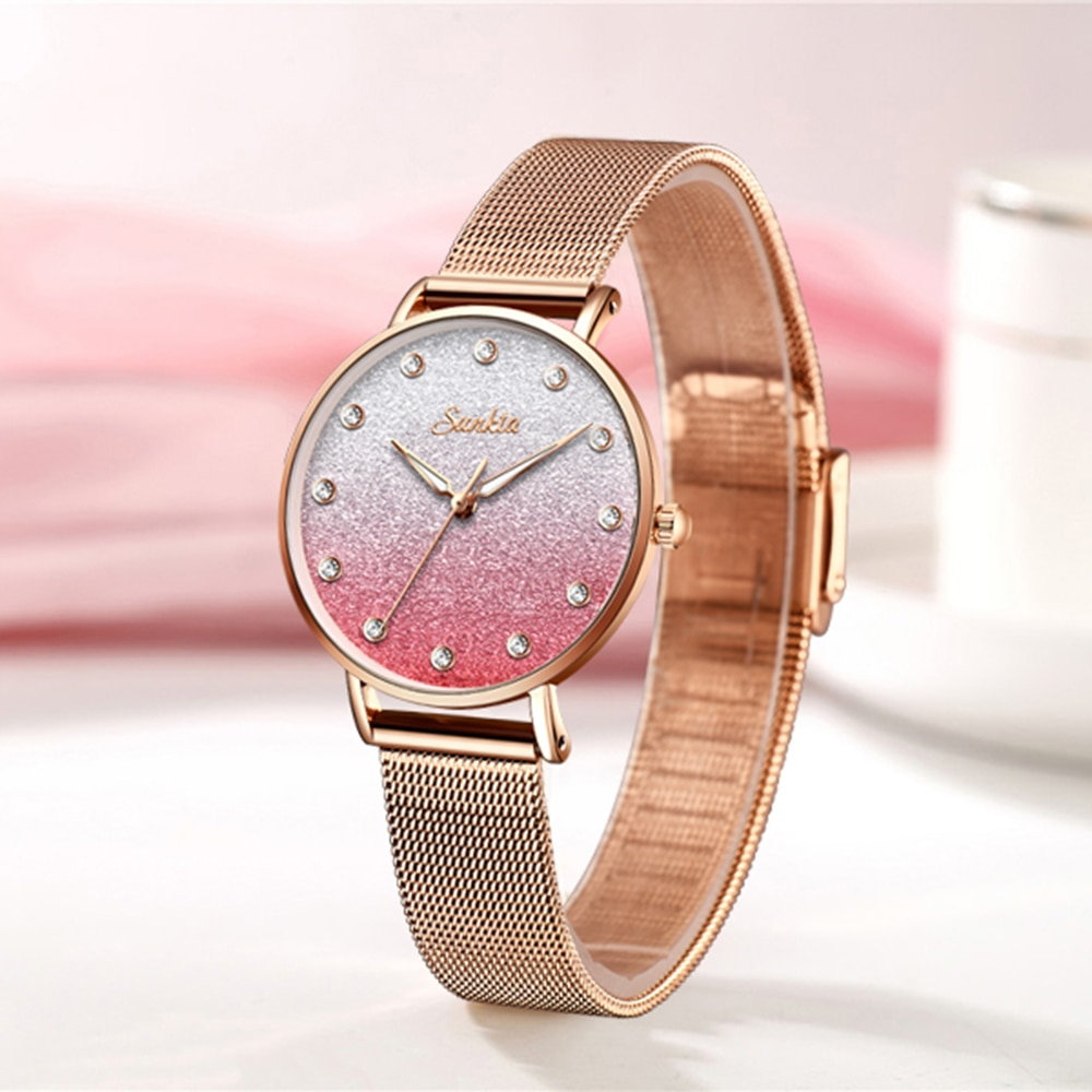 SUNKTA Women Watches Top Brand Luxury Female Fashion Rose Gold Pink Watches Casual Dress Full Steel Wristwatch Relogio Feminino enlarge