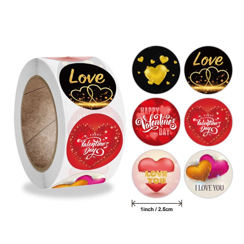 50-500 pces feliz dia dos namorados adesivo eu te amo com coração obrigado selando etiquetas festa de aniversário artesanal tag favores decoração