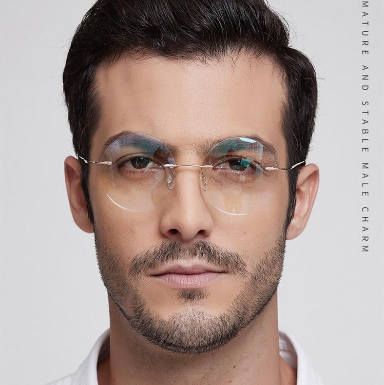 Leve liga de titânio sem aro óculos redondos para homem e mulher círculo óculos de prescrição óptica quadro oculos de grau