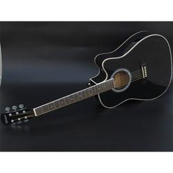 41 polegada pintura brilhante cor preta guitarra acústica rosewood fingerboard com afinador de cordas com hardcase