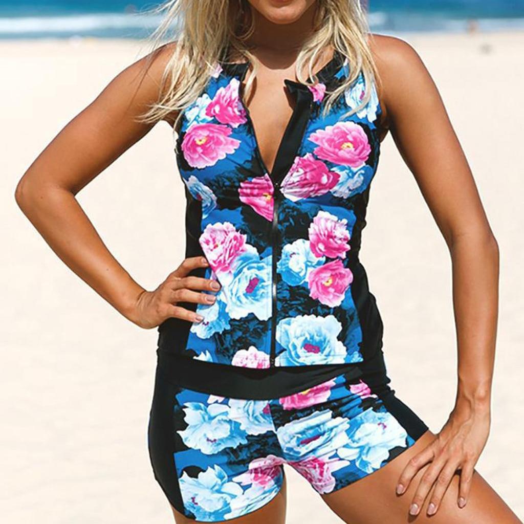 Sexy Bikini Micro 2020 mujeres Floral Zip Front Tankini traje de baño con pantalones cortos de natación sin mangas Rash Guard traje de baño de una pieza #38