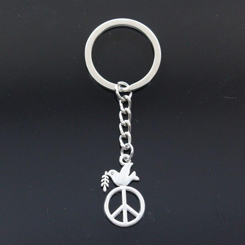 Mode porte-clés 28x16mm paix colombe avec Olive argent couleur pendentifs bricolage hommes bijoux voiture porte-clés porte-anneau Souvenir pour cadeau