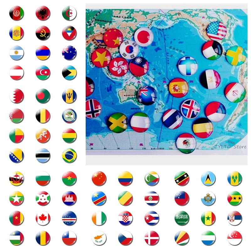 12PCS Nationalen Flagge Welt Flagge Sets Kühlschrank Magnet China USA UK Spanien Russland Deutschland Italien Frankreich Souvenirs Kühlschrank Magneten