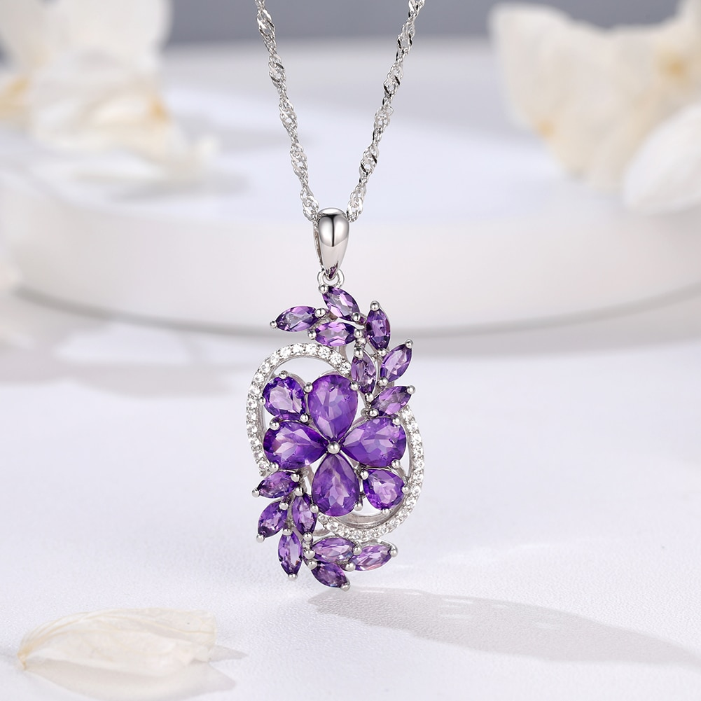 GZ ZONGFA Natural Amethyst Crystal Necklace Sterling Silver Flower Engagement Pendant Necklace