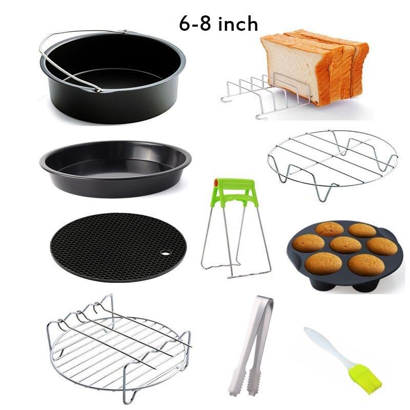 10 قطعة إكسسوارات مقلاة الهواء عالية الجودة الخبز سلة طبق بيتزا شواء وعاء مطبخ الطبخ أداة 6/7/8 بوصة ل airpan 3.2-5.8QT
