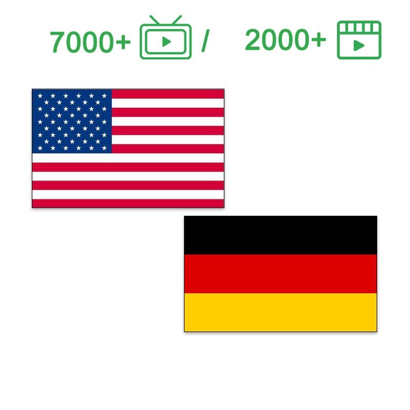 Alemania IPTV 7000 + para m3u caja de tv inteligente USA iptv M3U código deportes de prueba gratuita