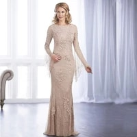 wholesale charming nude lace long sleeve mother of the bride dresses boat neck back out wedding party gowns 2021 latest on sale