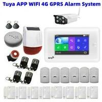 Kit systeme dalarme de securite sans fil  wi-fi  GSM 3G  pour la maison  avec camera video  Anti-vol  compatible avec lapplication Tuya