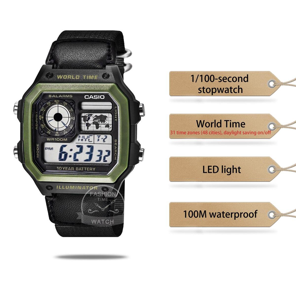 Casio watch men top set digital sport Waterproof Ten years of electricity quartz men watch relogio masculino AE-1200WHB-1B enlarge