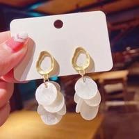 2021 new baroque trendy shell tassel earrings for women dangle earrings female drop earrings statement jewelry