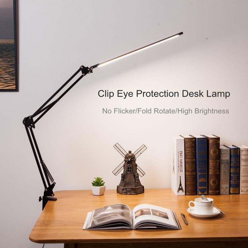 مصباح مكتب معدني قابل للطي مع مشبك ، مصباح طاولة معتم بذراع طويل ، 3 ألوان ، لغرفة المعيشة ، القراءة ، الكمبيوتر ، جديد