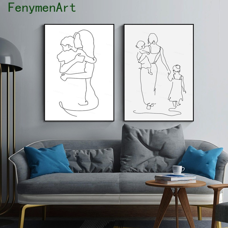 Mother And Daughters Son Art Line Drawing Posters Abstract Wall Art Canvas Painting Modern Pictures for Home Living Room Decor