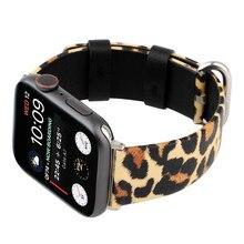 Bracelet en cuir léopard pour bracelets de montre Apple 44mm 42mm 40mm 38mm hommes/femmes Bracelet de mode pour iWatch série 4 3 2 1 Bracelet de montre