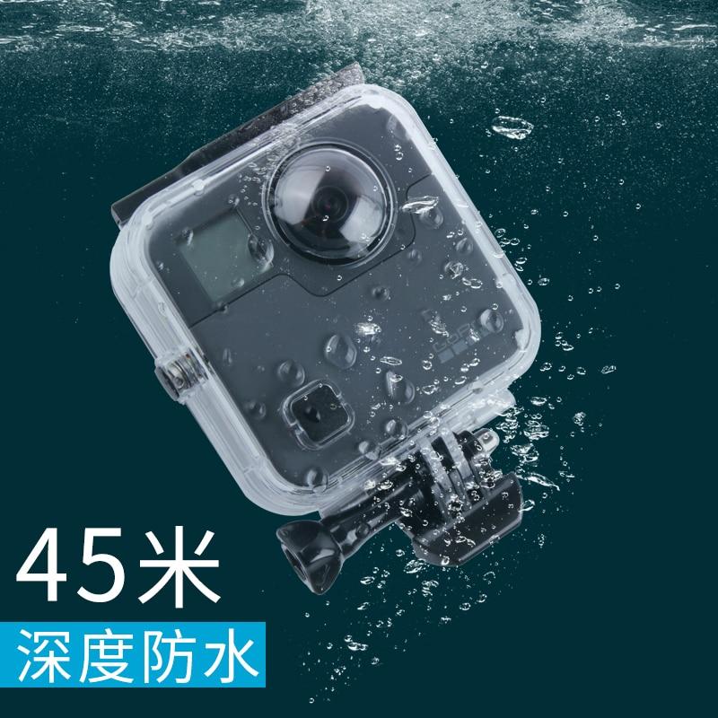 Funda carcasa resistente al agua 45M para cámara de fusión gopro 360 puerta trasera para Go Pro Fusion accesorios de Cámara de Acción
