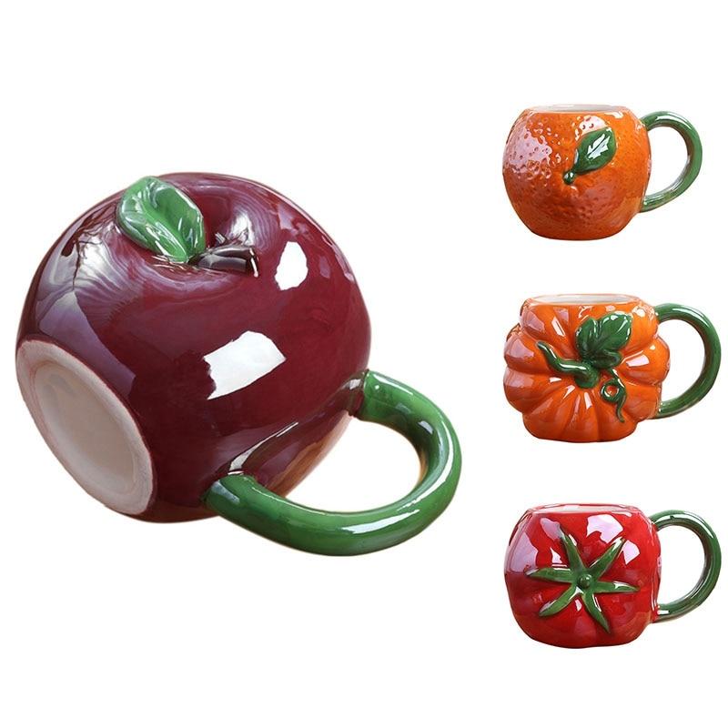 Creative Fruit Ceramic Mug Cute Coffee Mug with Handle Children's Milk Cup Personalized Fruit Shape Office Cups